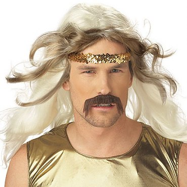 White Gold Rocker Wig with Moustache
