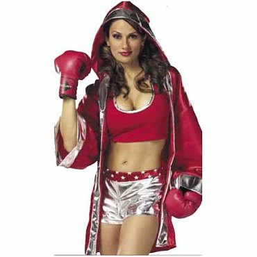 Red and Silver Boxer Girl Costume