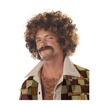 Disco Dirt Bag Wig with Moustache