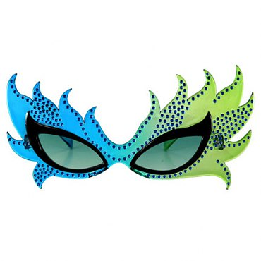 Blue Feather Mask Glasses