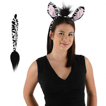 Zebra Ears and Tail Set