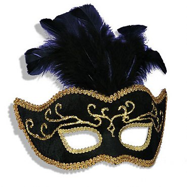 Black / Gold Elegant Venetian Mardi Gras Mask with Feathers