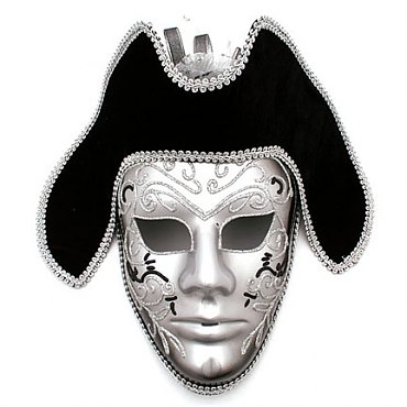 Pirate Venetian Black and Silver Full Mask