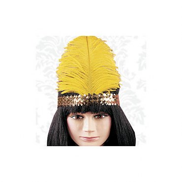 Sequin Flapper Headpiece with large feather