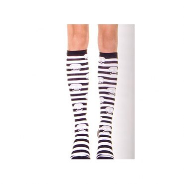 Striped Acrylic Knee Highs with Skulls
