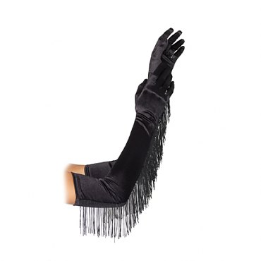 Satin Opera Length Gloves with Fringe Trim