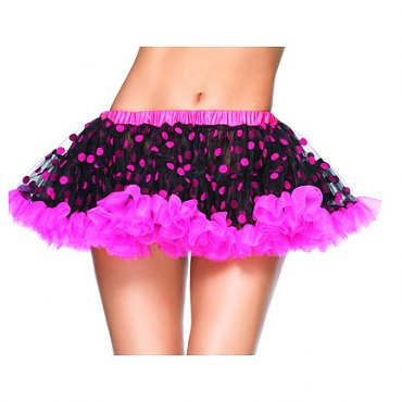 Black and Hot Pink Chiffon Mini Petticoat with Polka Dots