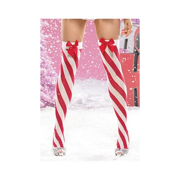 Lycra Sheer Candy Cane Bow Top Stockings