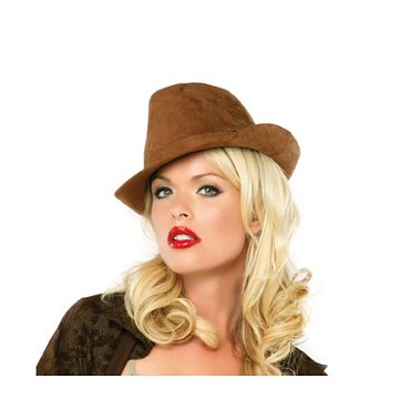 Faux Suede Brown Fedora Hat