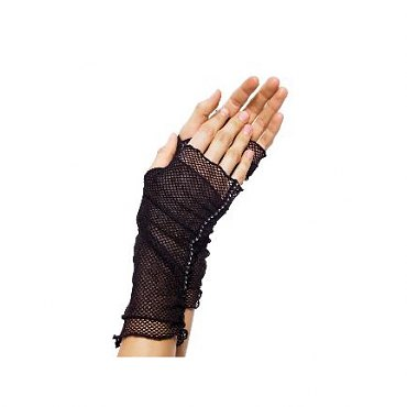 Fingerless Fishnet Gloves with Rhinestone Trim