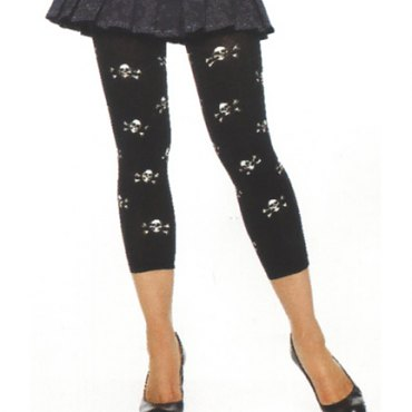 Opaque Footless Tights with Skull Prints