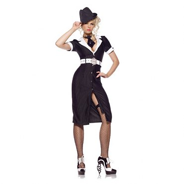 Gangster Moll Long Dress Costume