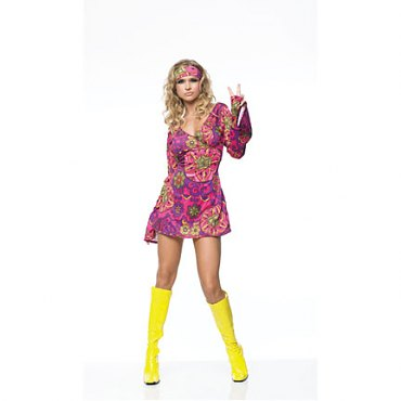 Hippie Girl Print Dress Costume