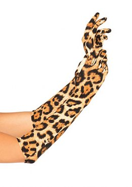 Leopard Print Opera Length Gloves