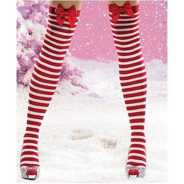 Jolly Holiday Striped Thigh Highs