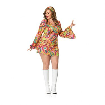Plus Size Hippie Chick Costume with Headband