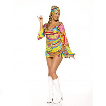 Plus Size Hippie Dress Costume with Headband