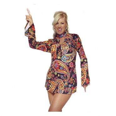 Plus Size Retro Paisley Print Keyhole Go-Go Dress Costume
