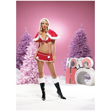 Pom Pom Santa Bra and Skirt Set