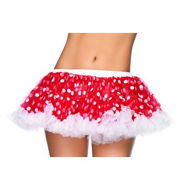 Red and White Chiffon Mini Petticoat with Polka Dots