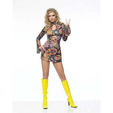 Retro Paisley Print Keyhole Go-Go Dress Costume