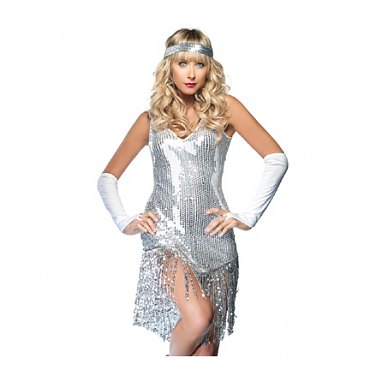 Gatsby Girl Flapper Costume - Silver