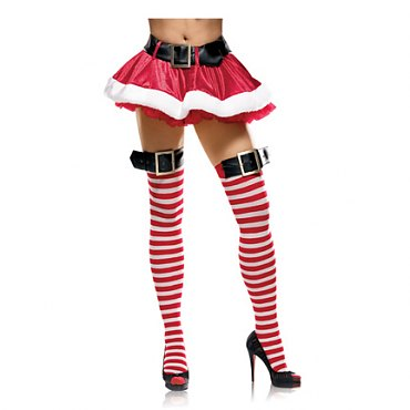 Nylon Striped Stockings with Buckle Top