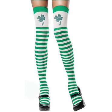 Striped Clover Thigh High Stockings