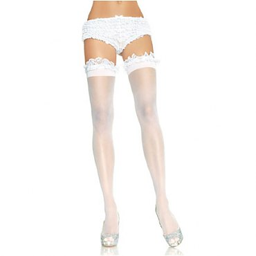 Sheer Thigh High w/ Garter Lace Ruffle Top