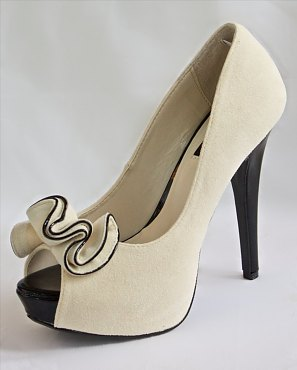 Beige Peep Toe Pumps