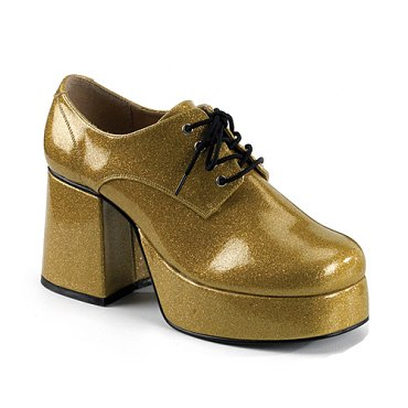 Mens Gold Glitter Disco Shoes