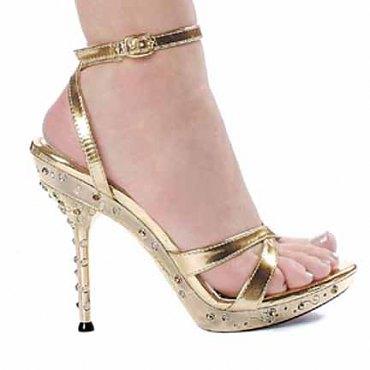 Rhinestone T-Strap Gold Sandal