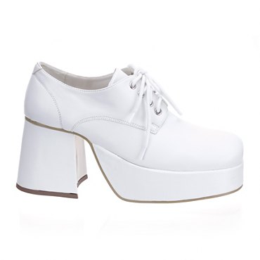 Mens White Patent Disco Shoes