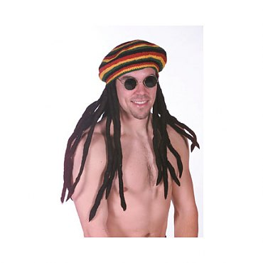 Rasta Tam Hat with Dreadlocks