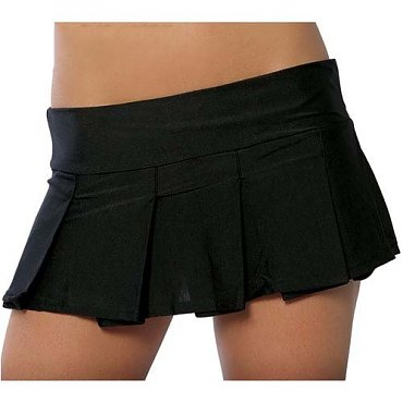 Roma Black Pleated Mini Skirt