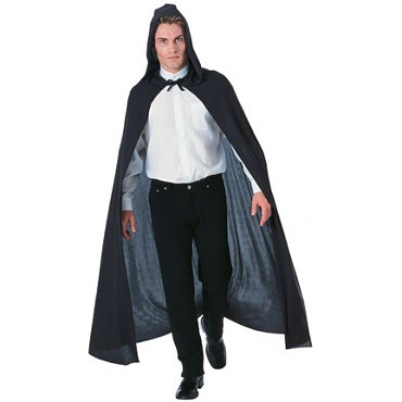Full Length Hooded Black Cape