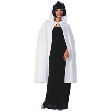 White Hooded Cape - 45""