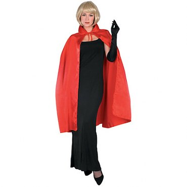 Red Taffeta Cape - 45""