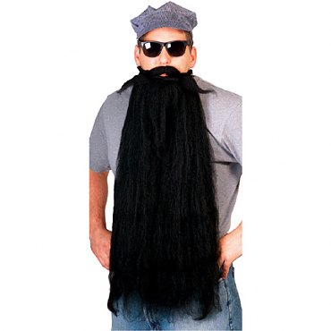 Long Mohair Beard & Moustache Set - Black