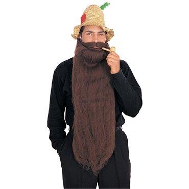Long Mohair Beard & Moustache Set - Brown