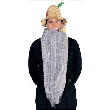 Long Mohair Beard & Moustache Set - Grey