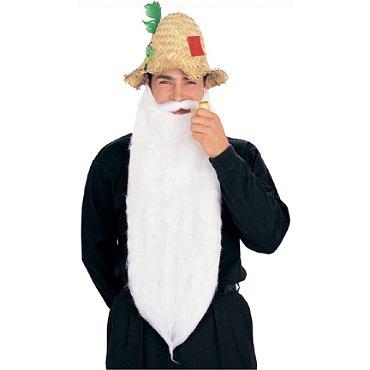 Long Mohair Beard & Moustache Set - White