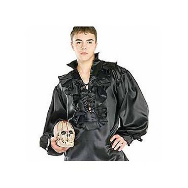 Black Satin Pirate Shirt