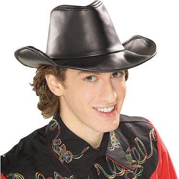 Black Leather Look Cowboy Western Hat