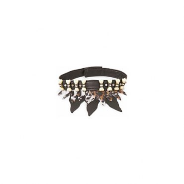 Bone Choker with Leopard Cloth