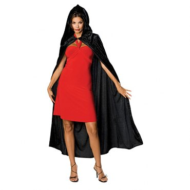 Black Gothic Hooded Velvet Cloak - 63""