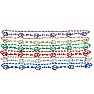 Peace Sign Mardi Gras Beads