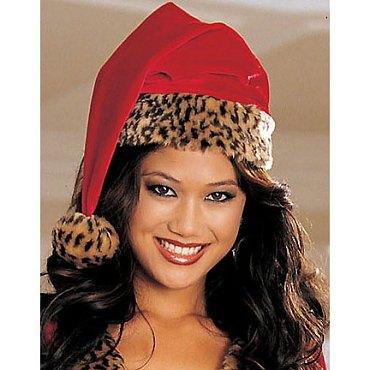 Leopard Fur Santa Hat
