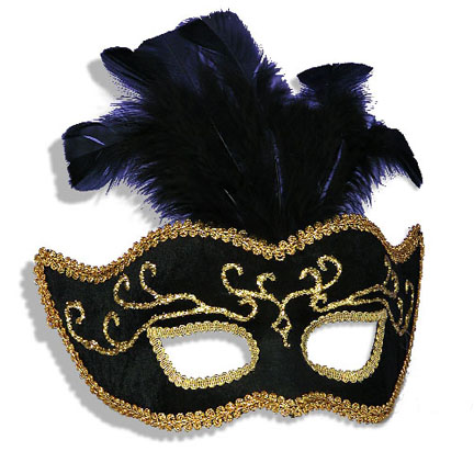 black gold elegant venetian mardi gras mask with feathers