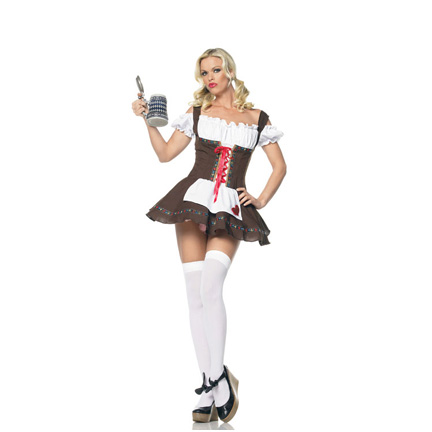 White Peasant Dress on Sexy Fraulein Girl Costume   German Oktoberfest Costume